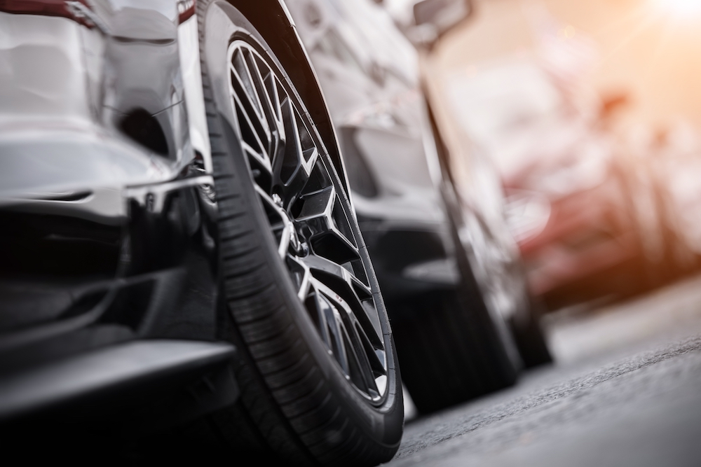 Closeup of tires on parked car