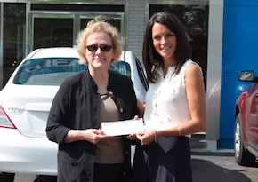 Two women hold check donated to WomenSafe, Inc. charity