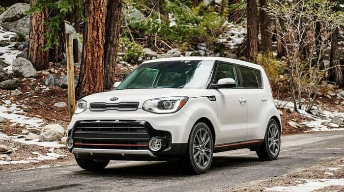 white 2019 Kia Soul with red and black accents