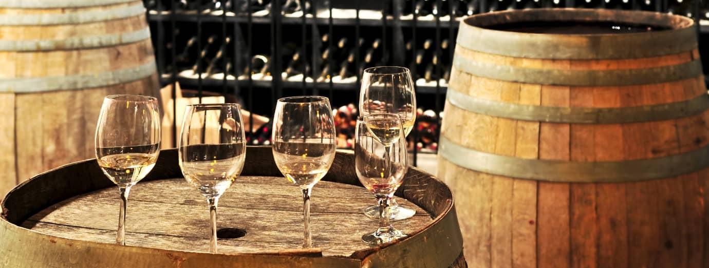 wine barrels and glasses